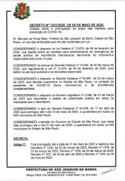 Novo decreto emitido pelo Prefeito Municipal de São Joaquim da Barra, na noite do último dia 08/05/2020