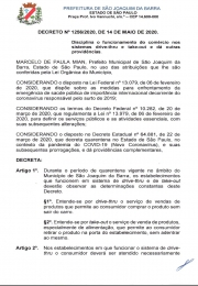 Novo decreto municipal emitido pelo Prefeito de SJB,  que disciplina o funcionamento do Drive Thru e Take Out
