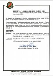 Decreto emitido pela Prefeitura Municipal de São Joaquim da Barra sobre o feriado no dia 25/05/2020