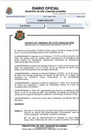 Decreto emitido pelo Prefeito Municipal de São Joaquim da Barra, no dia 18 de junho de 2020