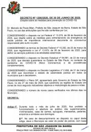 Novo decreto emitido hoje dia 01 de julho pelo Prefeito Municipal de São Joaquim da Barra, referente as atividades essen