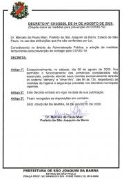 Decreto nº 1310/2020 referente a abertura do comércio neste sábado dia 08 de agosto no sistema Drive Thru e Delivery