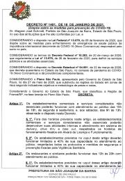 Decreto de 18 de janeiro de 2021 referente a regressão para fase laranja