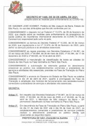 Segue novo Decreto nº 1448 de 30 de abril de 2021 sobre as medidas para enfrentamento da COVID - 19