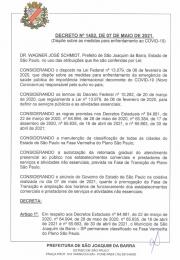 SEGUE NOVO DECRETO EMITIDO PELA PREFEITURA MUNICIPAL DE SÃO JOAQUIM DA BARRA, Nº 1452, DE 07 DE MAIO DE 2021