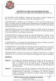 Segue novo decreto do dia 24 de maio de 2021 emitido pela Prefeitura Municipal