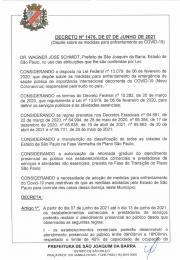 Novo decreto Nº 1476 do dia 07 de Junho de 2021 emitido pela Prefeitura Municipal