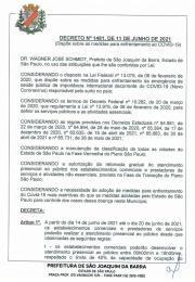 Decreto nº 1481 de Junho de 2021 emitido pela Prefeitura de São Joaquim da Barra