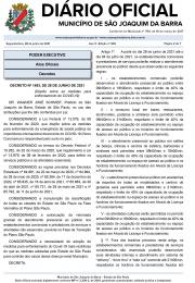 Decreto nº 1493 de 28 Junho de 2021 emitido pela Prefeitura de São Joaquim da Barra